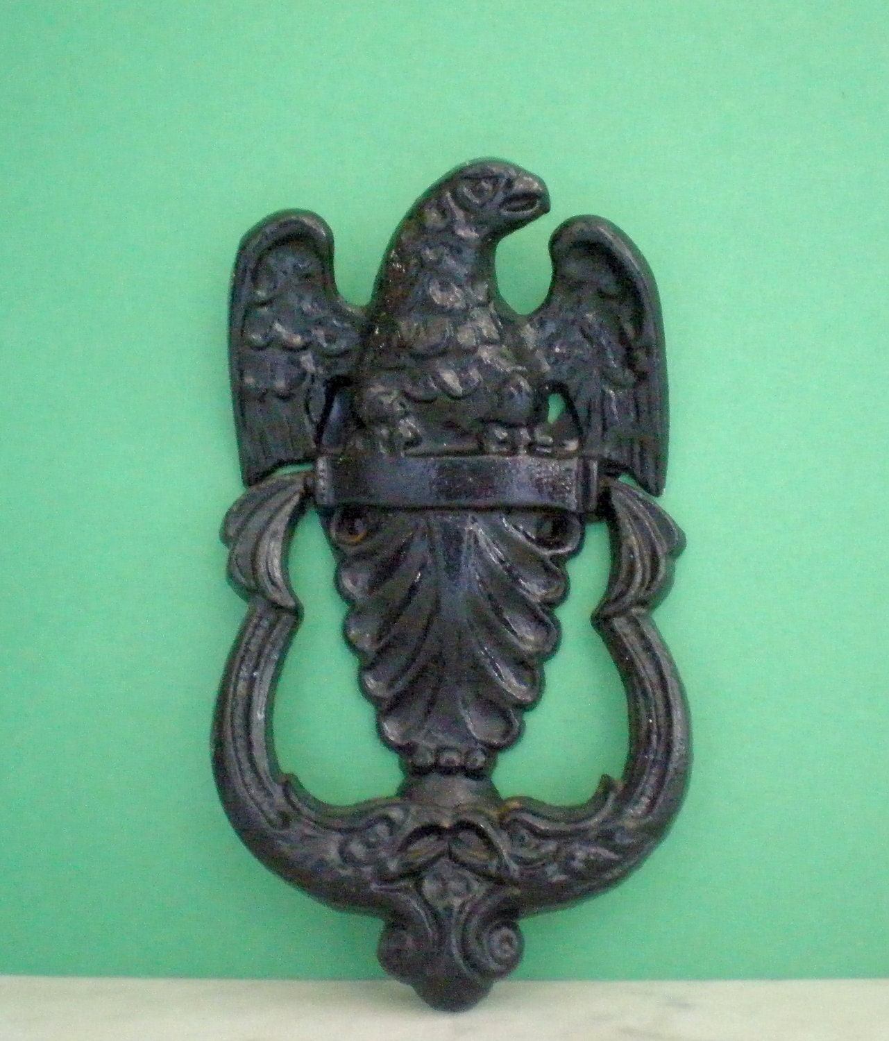 Iron door knocker painted federal eagle by greenzebre on for Custom made door knockers