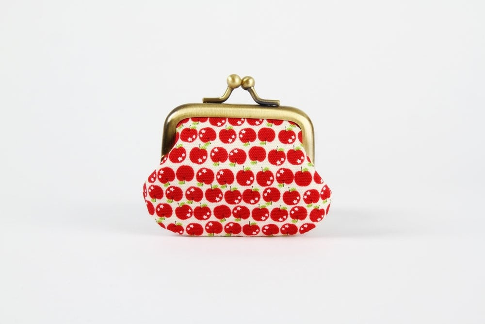 Baby purse - Chibi appels in red - metal frame pouch - octopurse