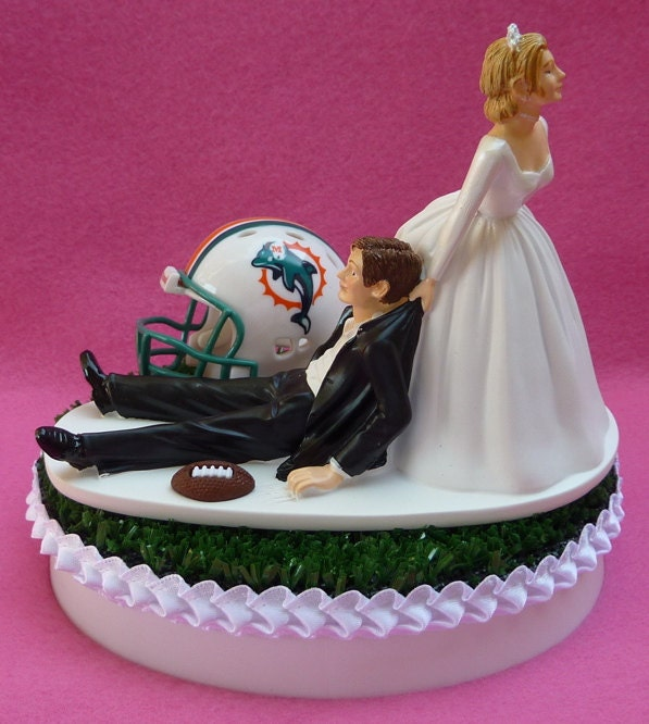 wedding cake topper miami dolphins football themed by wedset. Black Bedroom Furniture Sets. Home Design Ideas