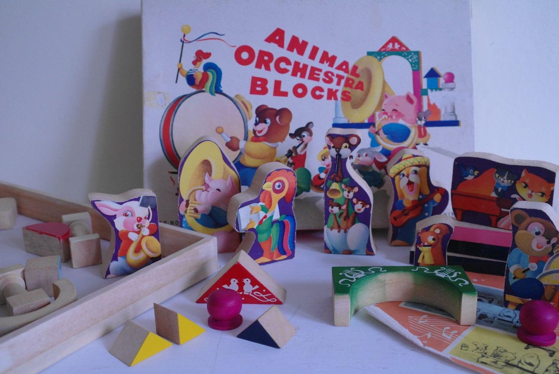 Vintage Animal Orchestra Blocks  Collectable Vintage Toy