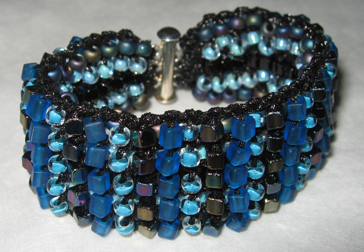 Midnight  Blue, Black Reversible Cuff, Two  in One Hand  Knit Bracelet- OOAK Original by Sereba Designs