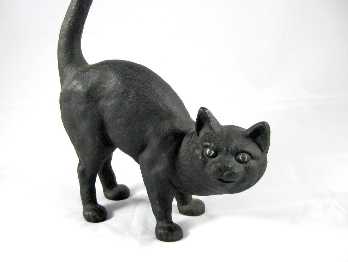 Cast iron black cat door stop by niknaknook on etsy - Cast iron cat doorstop ...