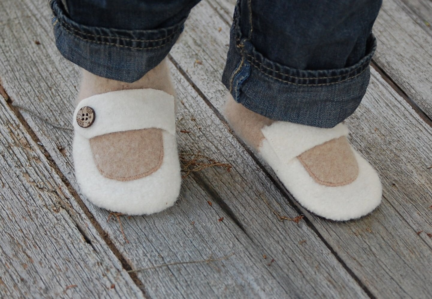 Toddler Slippers, Eco Friendly and Handmade, Sizes 6-18, 12-24 months, Miss Jane