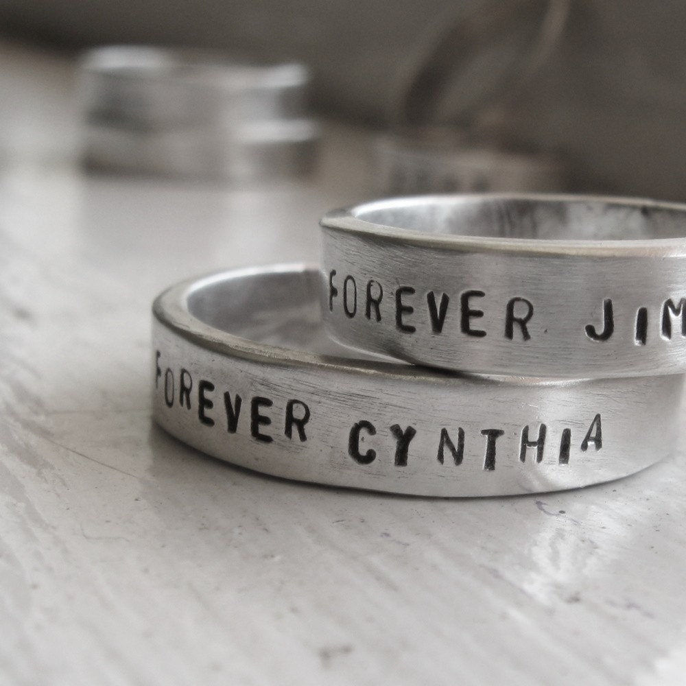 Rustic sterling wedding rings personalized band set
