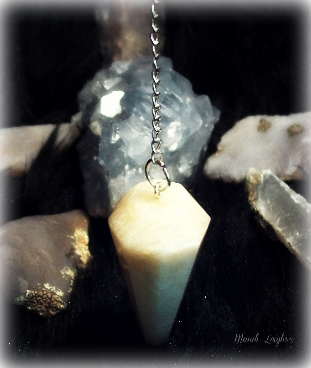 Goddess Energy Sterling Silver Moonstone Pendulum