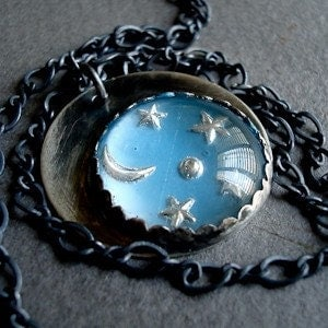 Les Etoiles. Starry Night Pendant on a chain.