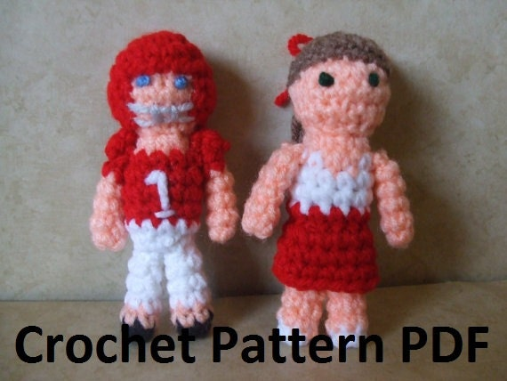 Jack Russell Amigurumi Free Pattern : Football Player and Cheerleader Mini by CraftFrogPatterns ...