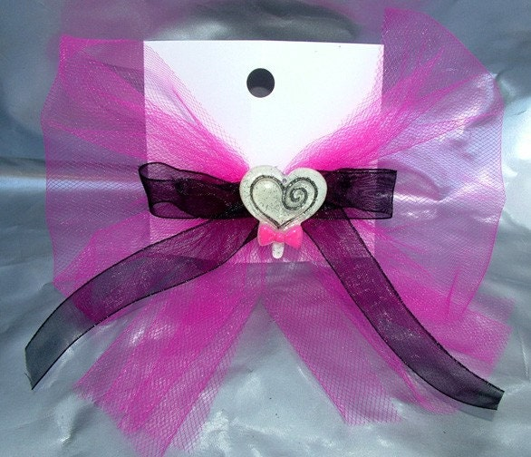 Psychobilly Gothic Hot Pink Lollipop Candy Hair Bow Barrette