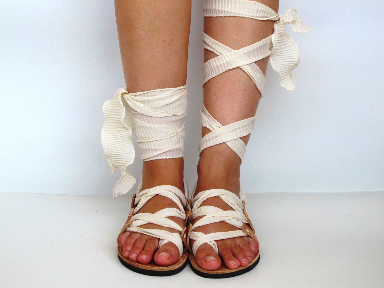 "Leather Sandals, handmade, Unique design, with plisse scarf straps in ivory  ""APHRODITE"" AS03 All sizes Available - GreekChicHandmades"