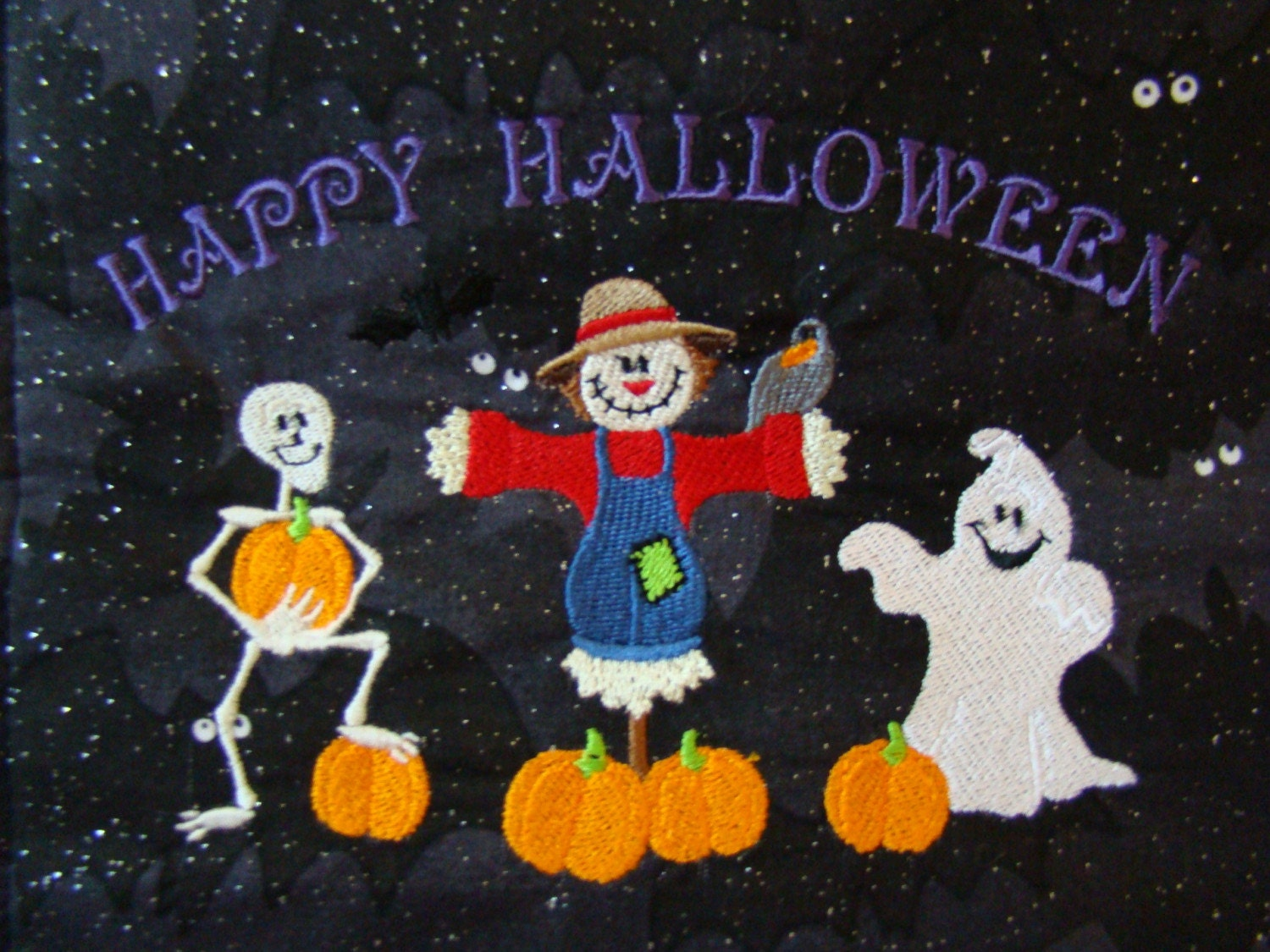Happy Halloween Embroidery Wall Hanging