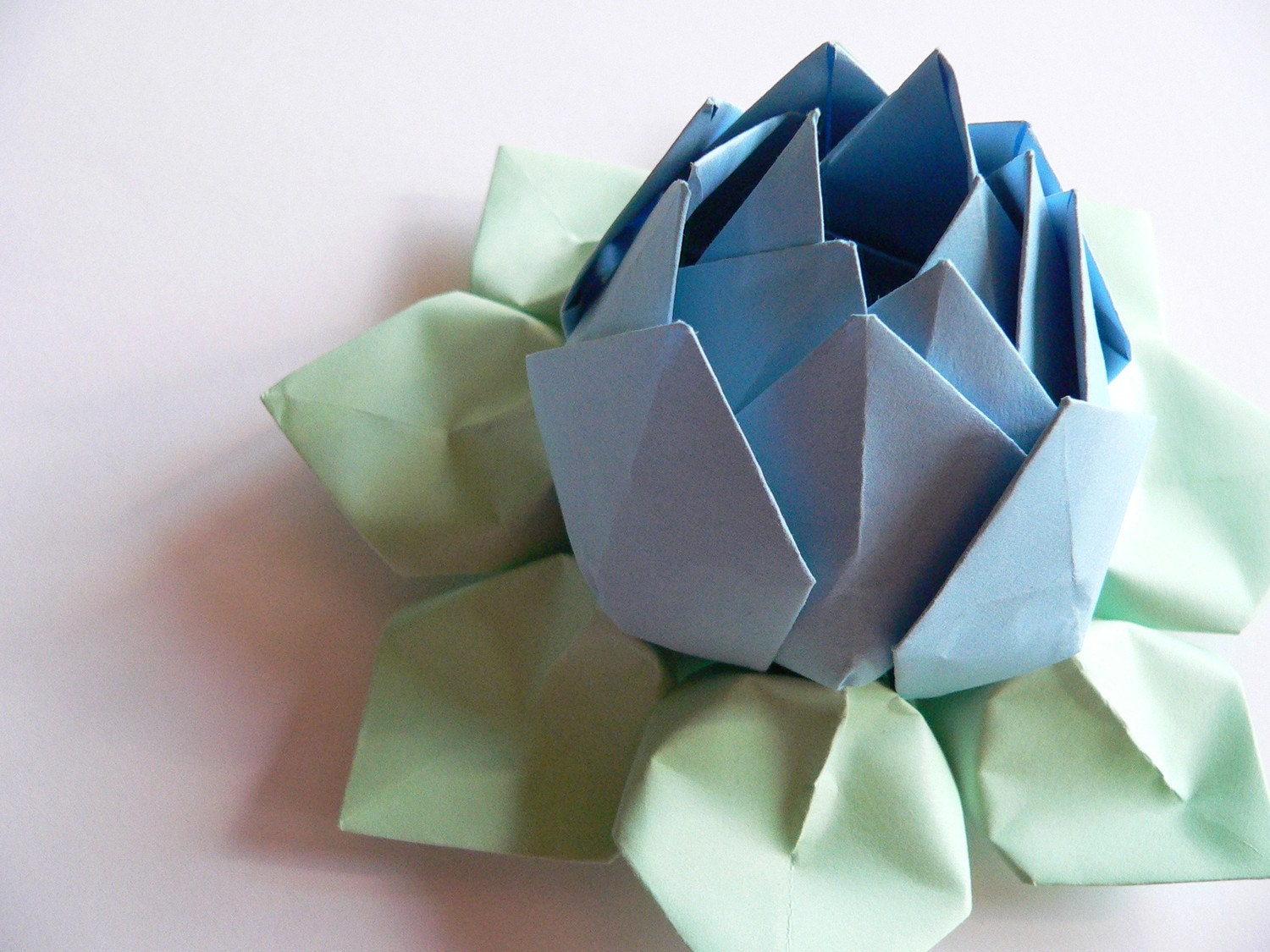 Origami Lotus Flower Decoration or Favor // Periwinkle and Mint OOAK