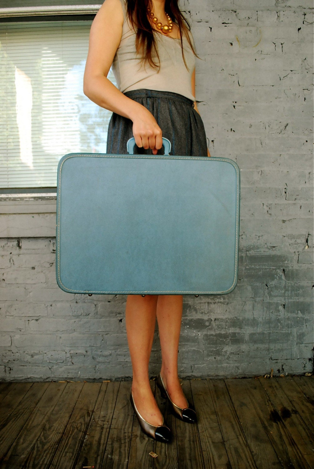 MACY - Powder Blue Suitcase-Luggage by Monarch