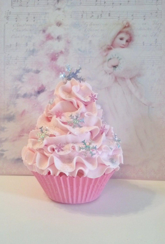 Pastel Pink Winter Wonderland Fake Cupcake By