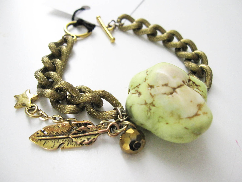 Chunky chain Meteorite Bracelet  in lime