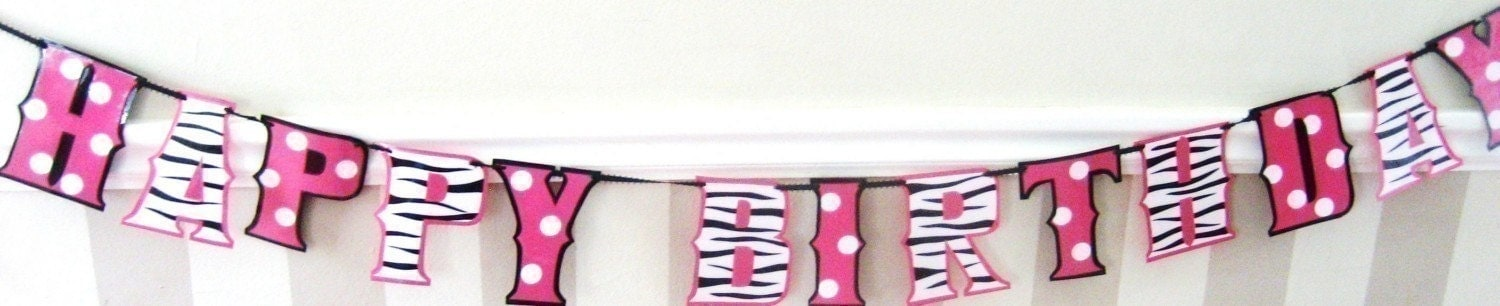 HAPPY BIRTHDAY Banner - ZEBRA and MINNIE MOUSE style print in black white and hot pink