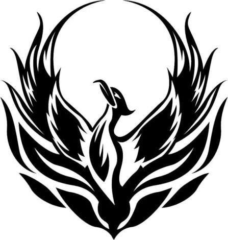 Black and White Phoenix Bird