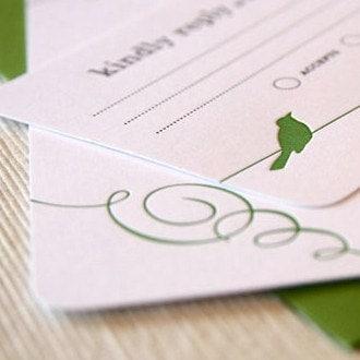 Wren Letterpress Wedding Invitation Sample letterpress green flourish