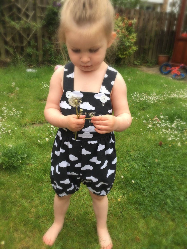 kids clothing handmade toddler clothing bespoke toddler fashion unisex black and white clouds dungareesromper