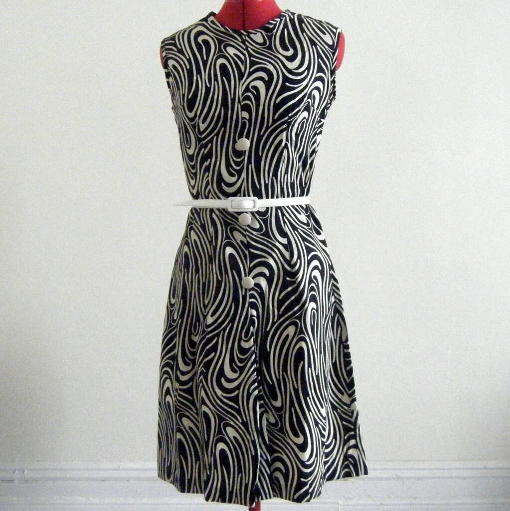 1960s Mod Print Sleeveless Dress - Size Small/Medium