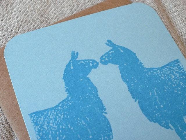 Llama Llove.  Gocco printed flat card.