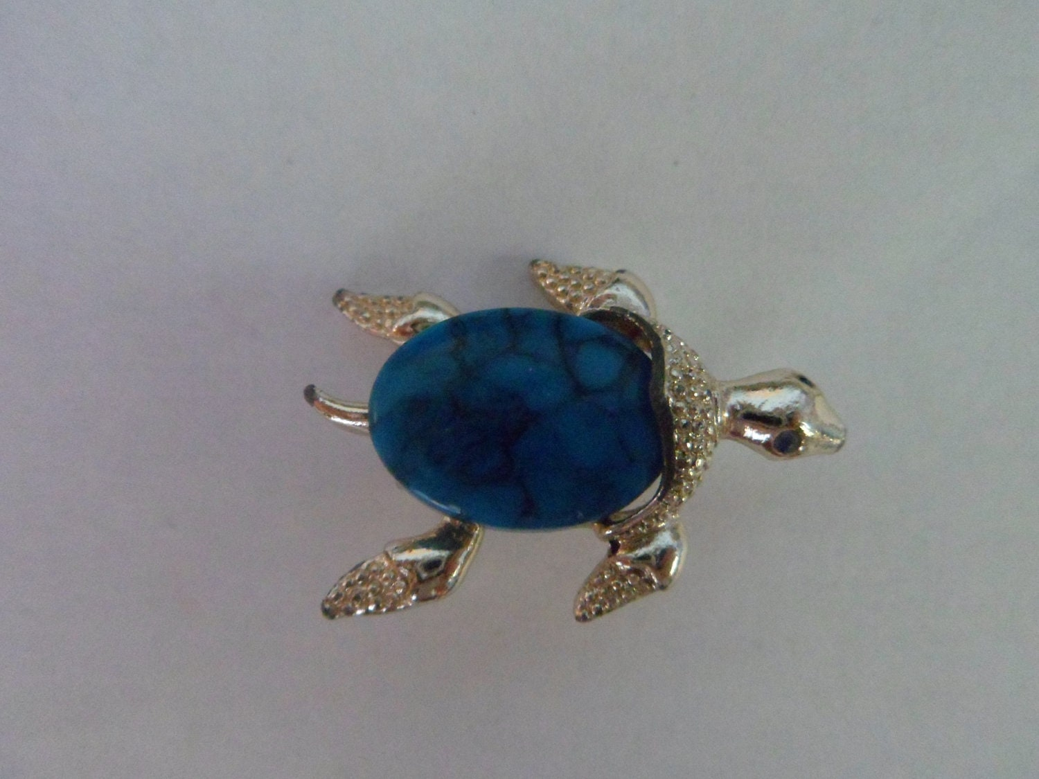 Vintage Silvertone Gerrys Turtle Brooch with Turquoise Stone