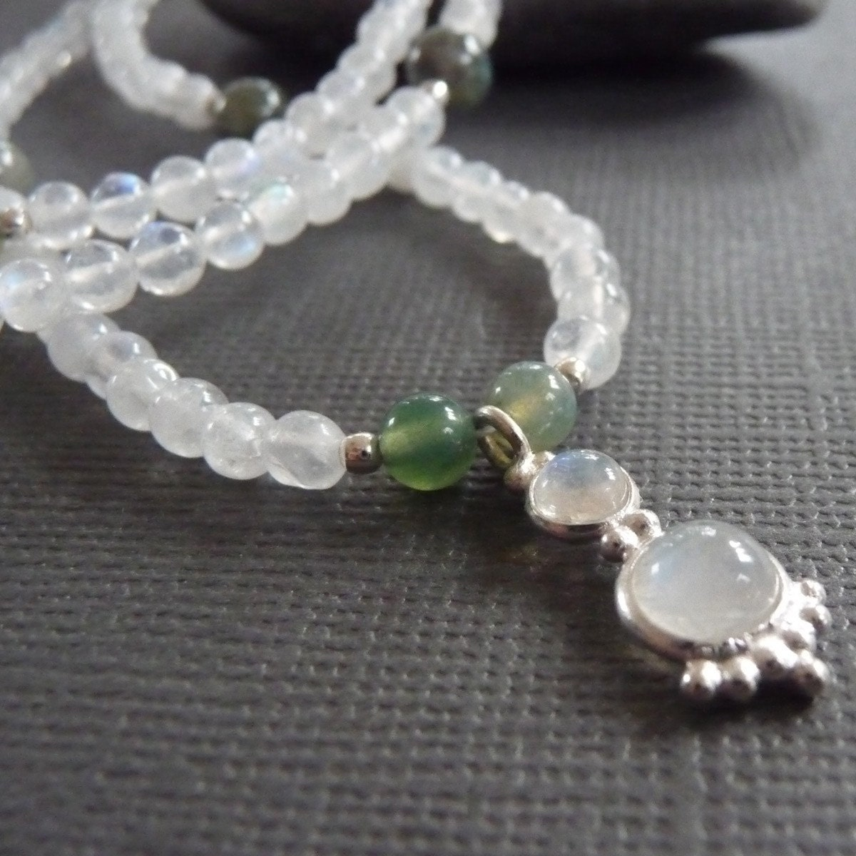 Moonlight Sonata Moonstone and Green Fancy Jasper Necklace