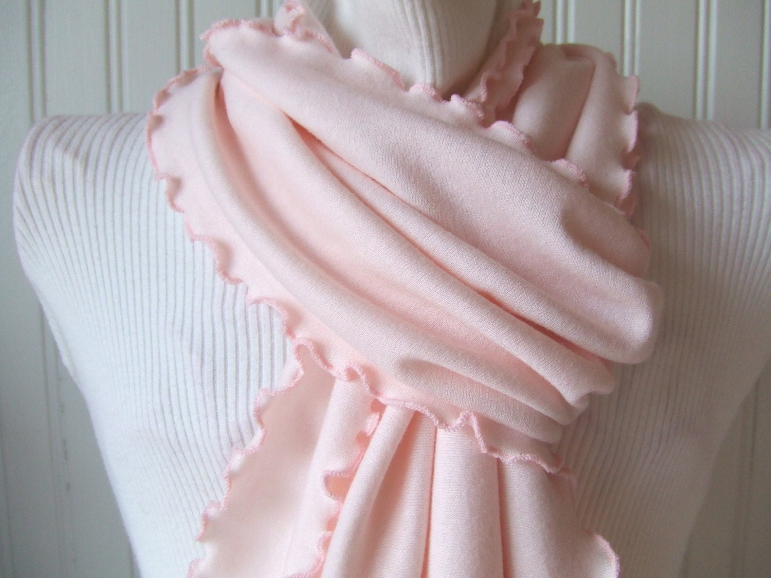 Pale Pink Knit Ruffled Scarf