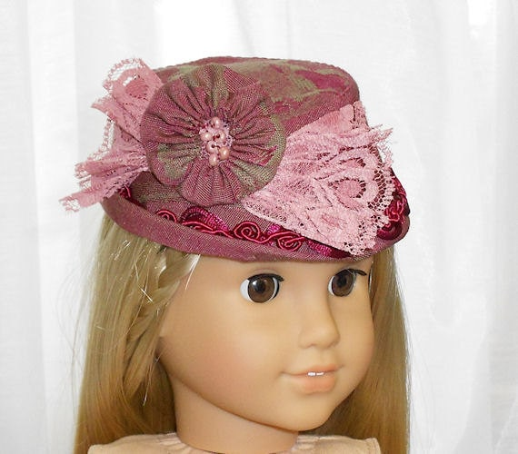 American Girl Doll Clothes - Doll Hat in Cranberry and Rose