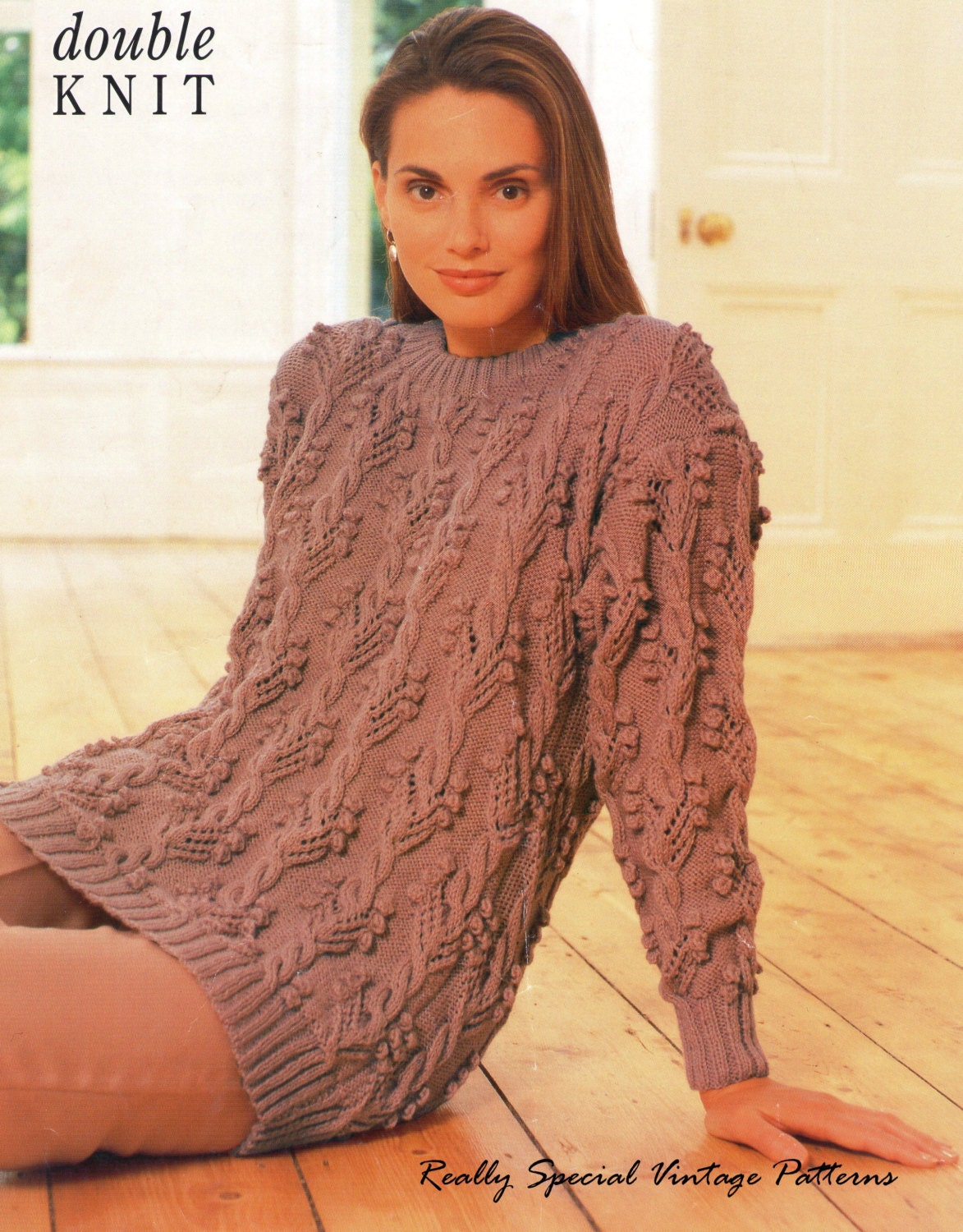 Tunic Sweater Knitting Pattern : Aran Tunic Sweater Knitting Pattern D.K by PamoolahVintage