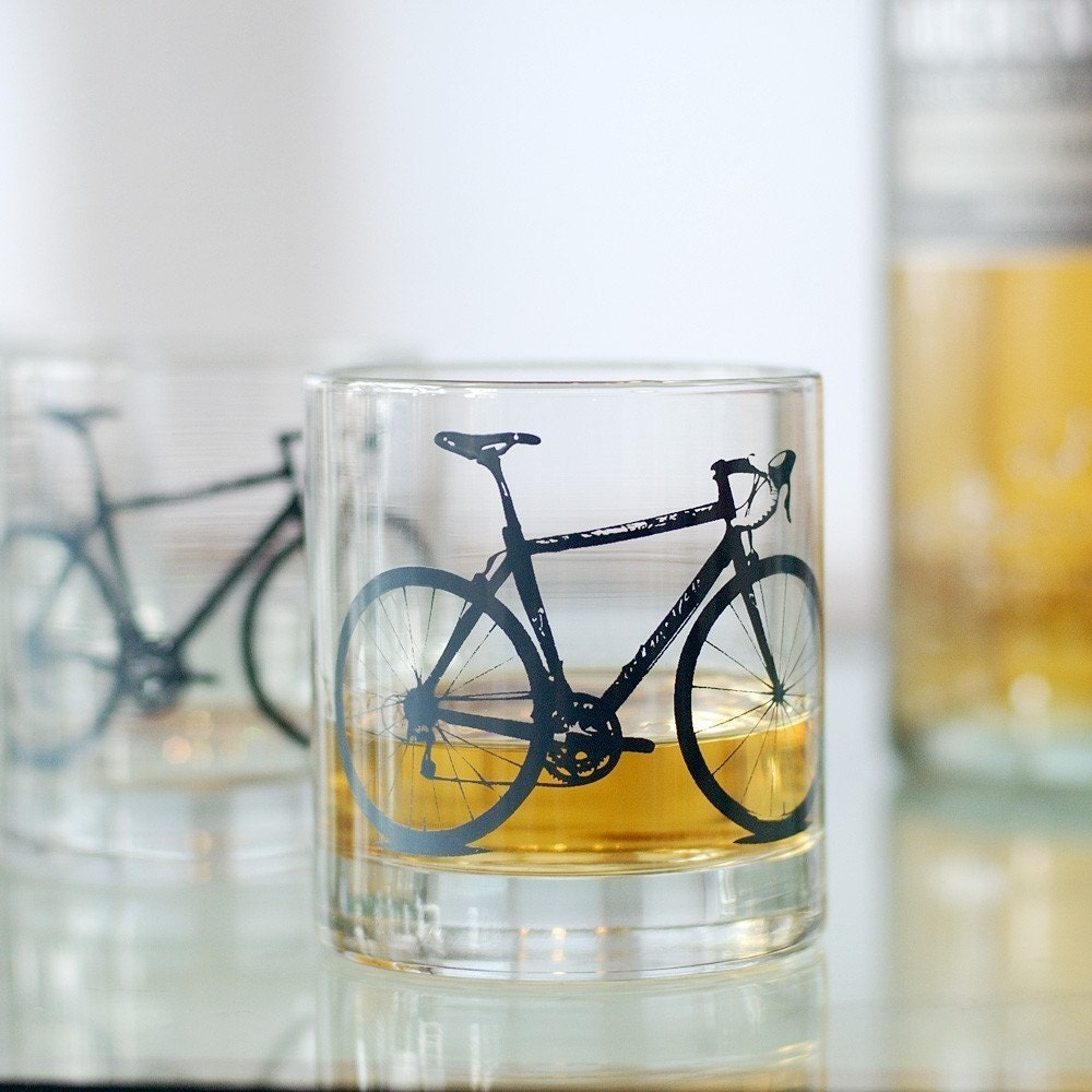 Vital Bicycle, screen printed glassware, charcoal, set of 2 old fashioned glasses