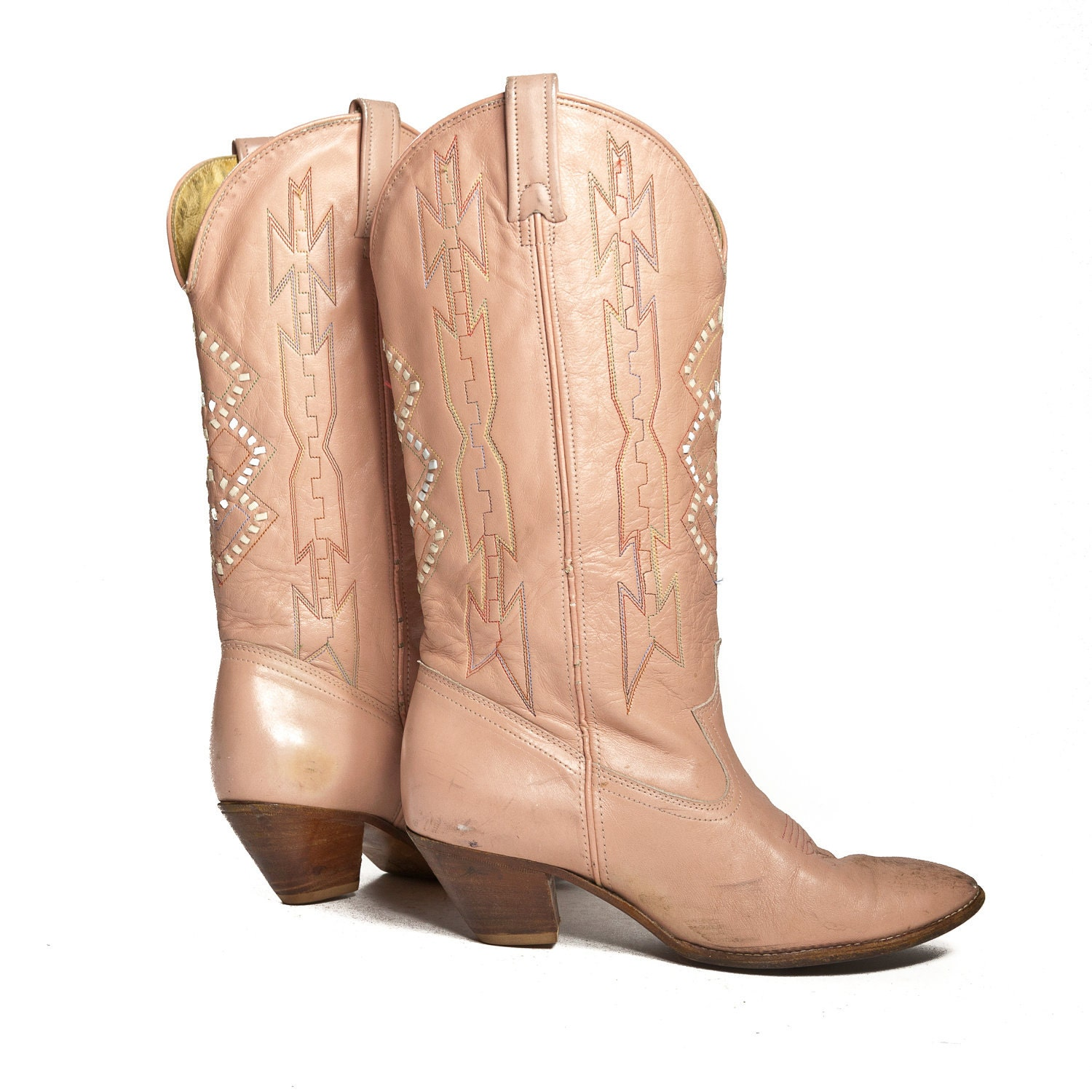 southwestern pink cowboy boots with pastel by