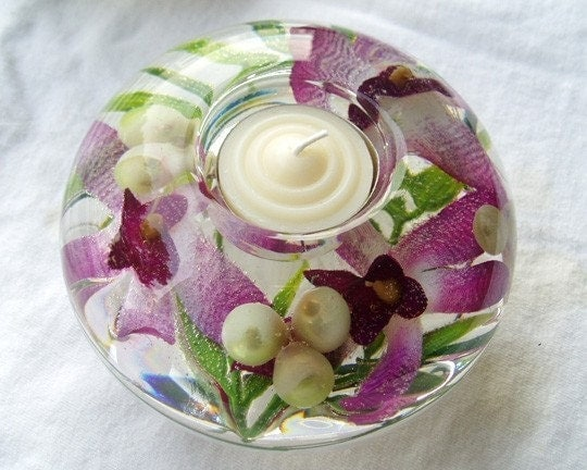 Purple Striped Orchid Candle Holder