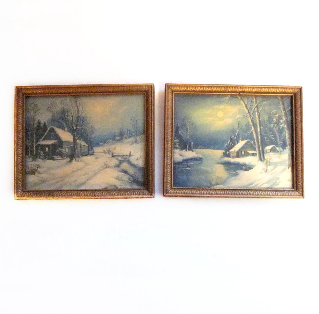 1950s framed art prints winter scene by vintagepennylane