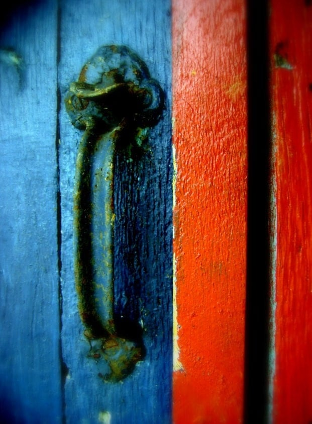 red and blue wood playhouse door photograph