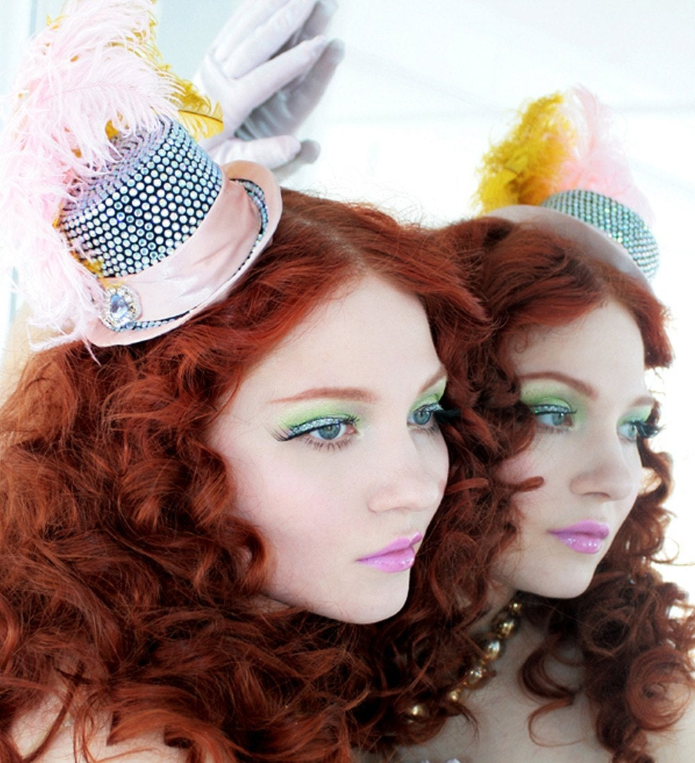 Custom - Mini Rhinestone Top Hat - Fascinator - Burlesque - As Seen in BG Magazine Candy Issue