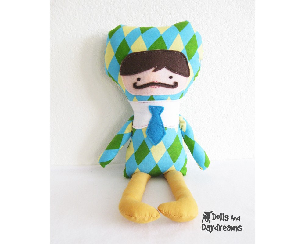 Boy Cloth Doll PDF Sewing Pattern with Mustache