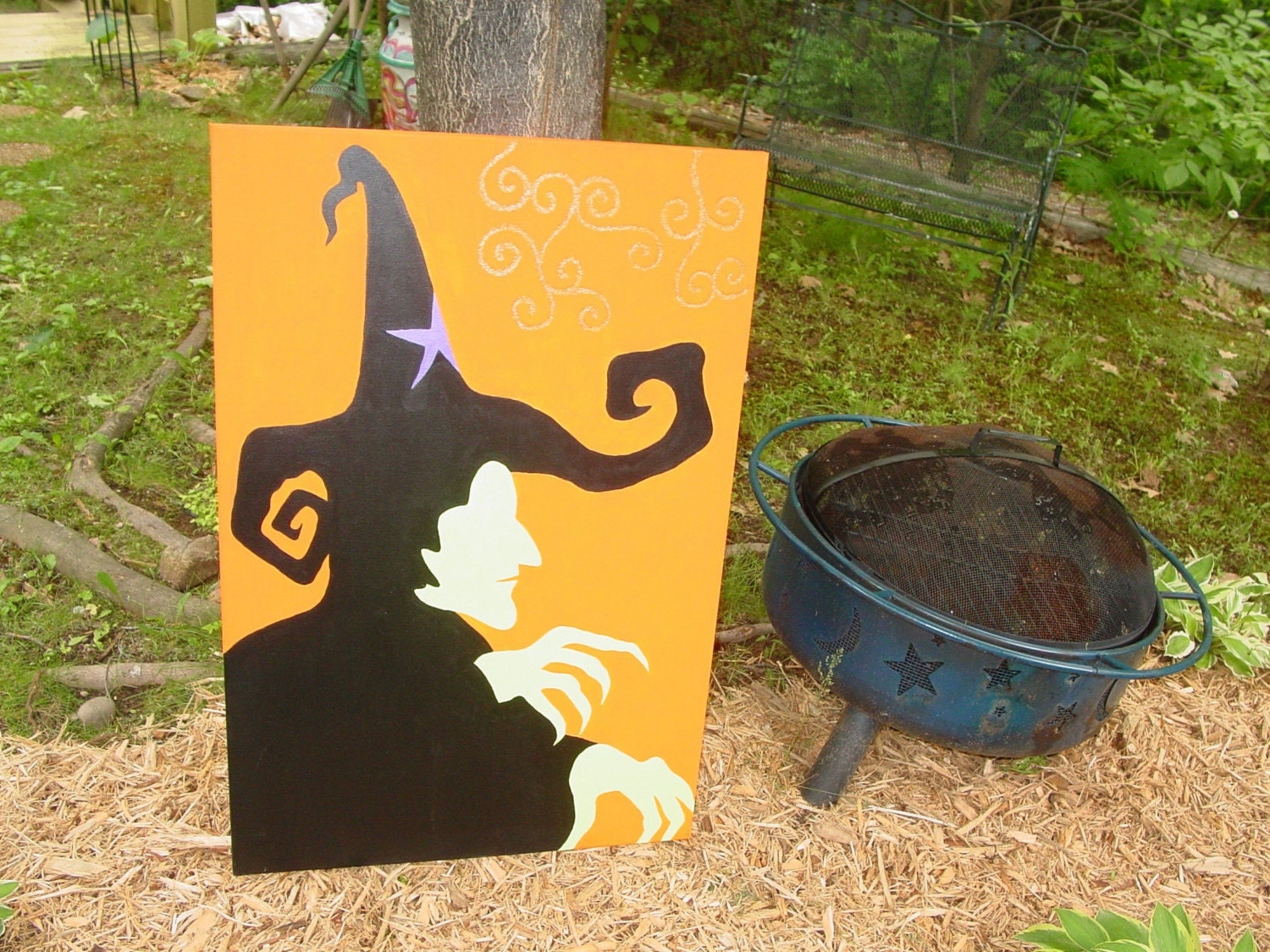 WICKED  canvas arcylic painting wicked WITCH  of the  WEST from  wizard of OZ