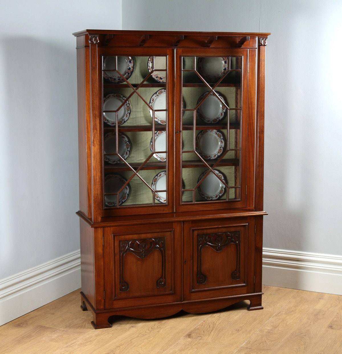 Antique English Victorian Art Nouveau Mahogany Glass Display Bookcase Cabinet Cupboard by James Schoolbred  Co. (Circa 1890)
