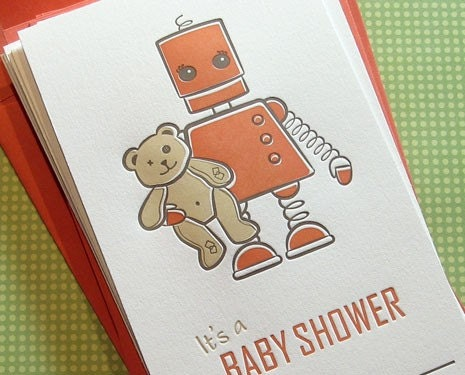 ROBOT TEDDY Set of 10 Baby Shower Invitations
