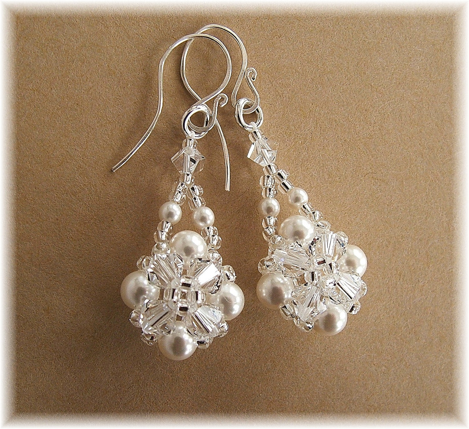 Crystal Crowns Bridal Earrings Clear Crystal and by Handwired from etsy.com