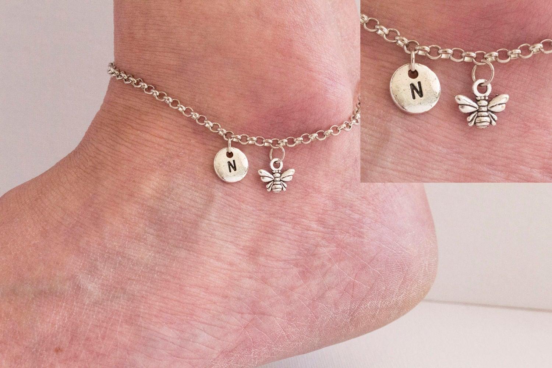 Silver initial bee anklet bumble bee anklet ankle bracelet silver ankletankletbeach jewellery ankletyoga jewellerySPBEEAN01