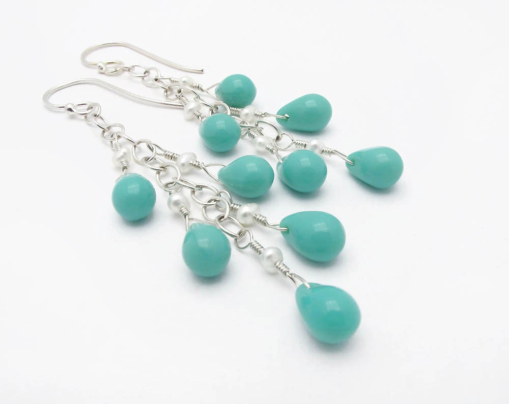 dangle earrings turquoise earrings aqua earrings pearl earrings drop earrings glass briolette earrings boho earrings summer fashion CIJ - SharonClancyDesigns