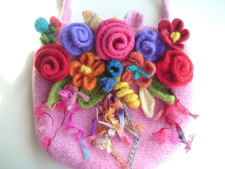 Knit Crochet Felted Flower Free Pattern Easy Crochet