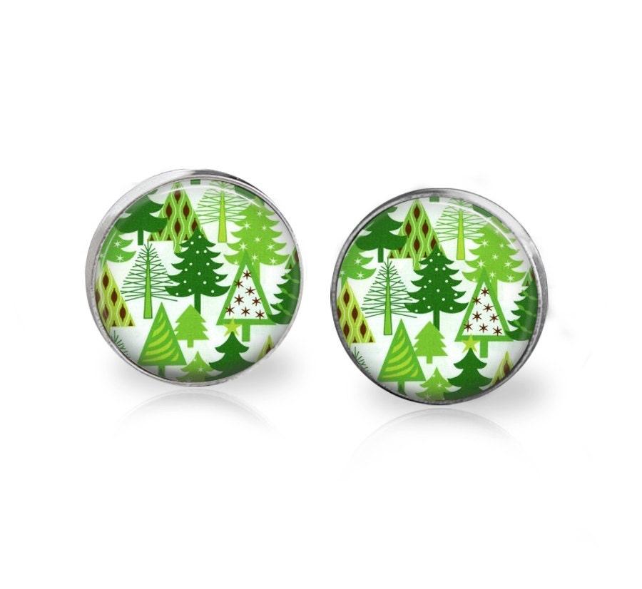 Xmas Tree Earrings Green Glass Christmas Stud Earrings Christmas tree Earrings Holiday tree Winter tree Winter Jewelry Xmas Wreath Pine Post - memoryvendor