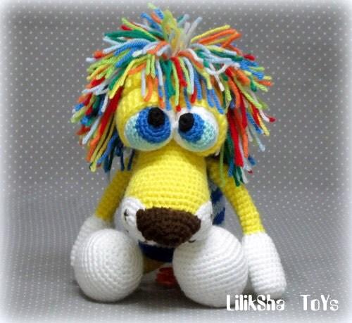 Amigurumi Mane : Amigurumi Pattern Atan The Lion with a rainbow mane. by ...