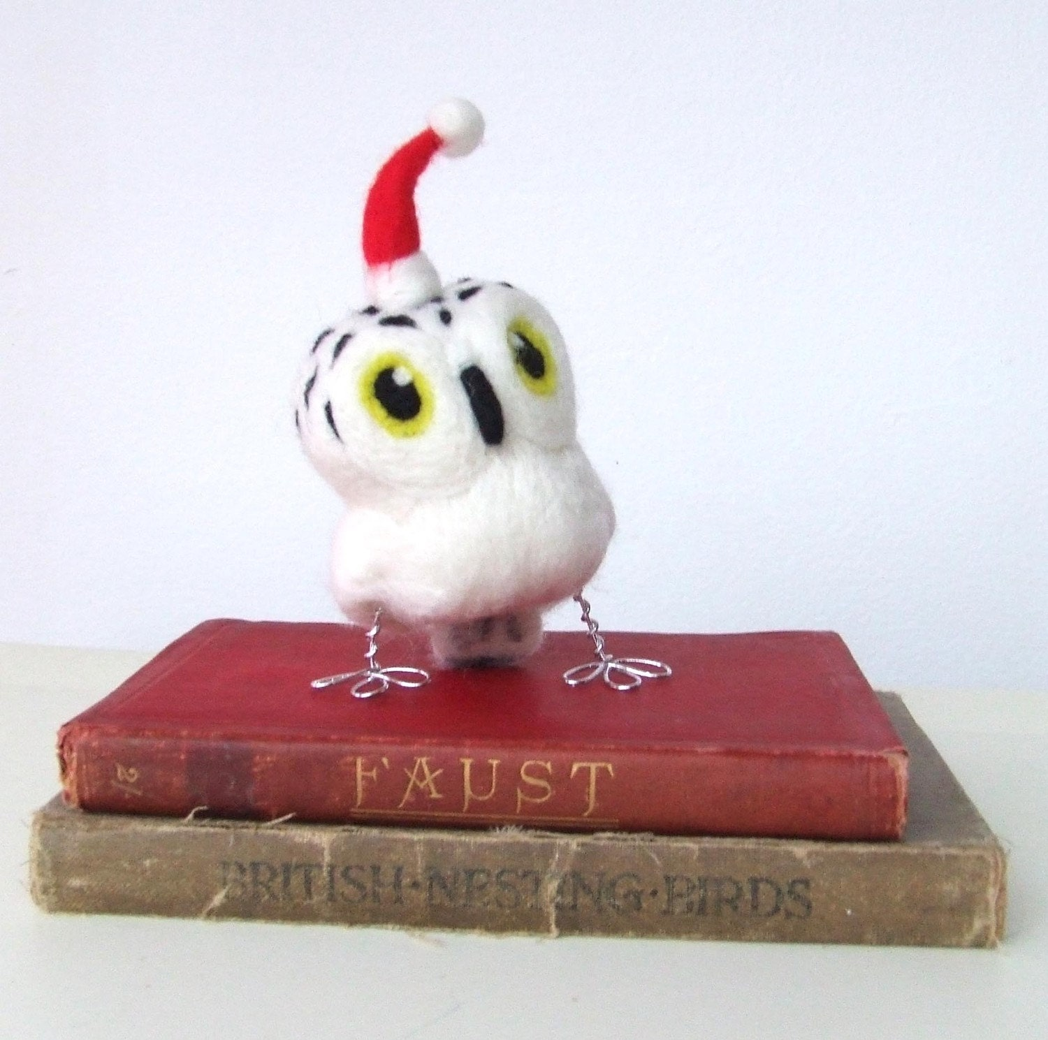 Christmas Tweet Hoot  Little Snowy Owl in Natural White With Red Santa Hat