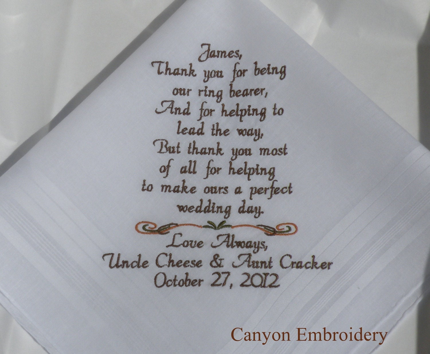Funny Wedding Gift Quotes : Wedding Gift Mother InLaw Embroider ed Wedding hankerchief - I am ...
