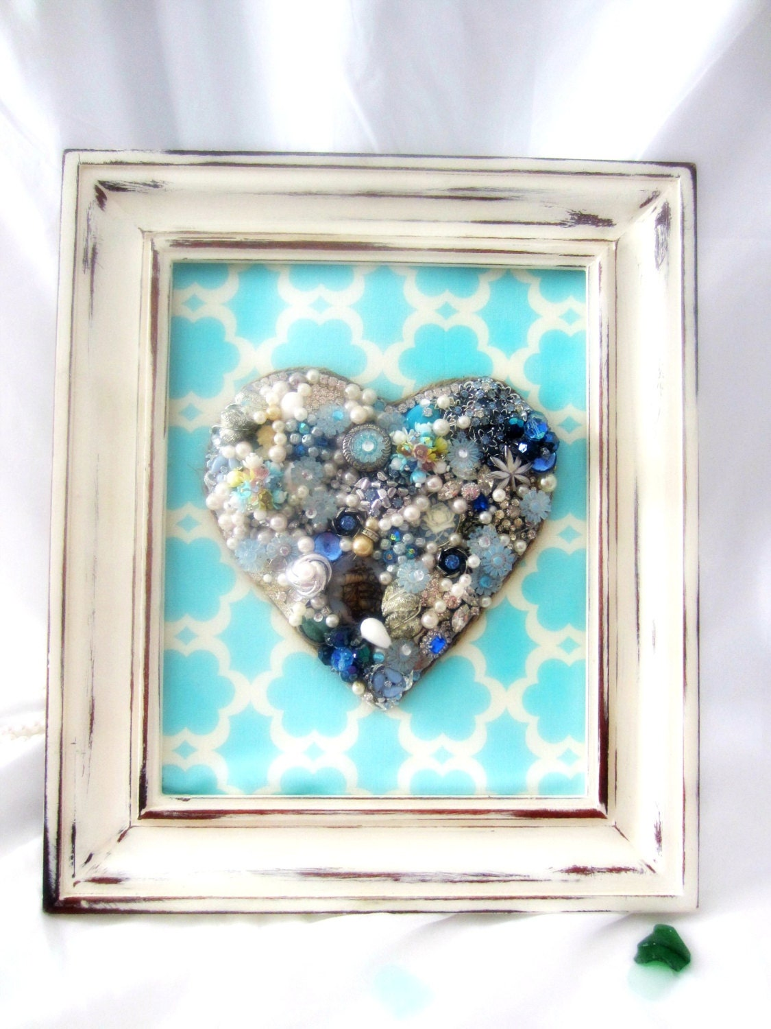 Vintage Jewelry Mosaic Wall Decor Blue Heart - northandsouthshabby