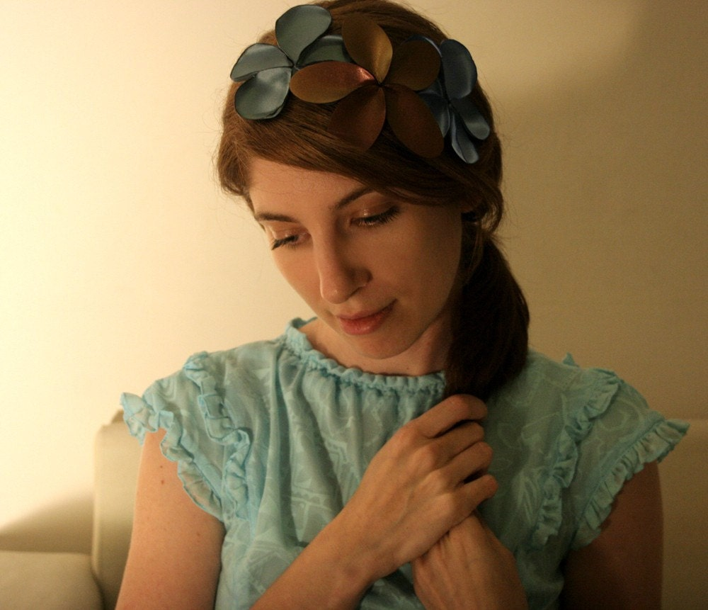 Floral Fascinator, vintage flair headband, with copper brown leather, sage green and light blue satin flowers