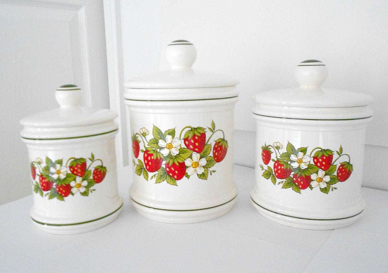 Items Similar To Canisters Strawberry Kitchen Decor Set Of Three On Etsy